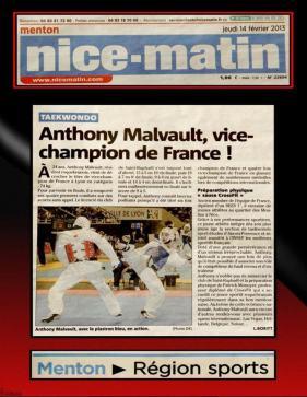 Nice-Matin, Anthony Malvault Vice-Champion de France Elite 2012!