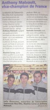 Nice-Matin : Anthony Malvault, Vice-Champion de France 2013.