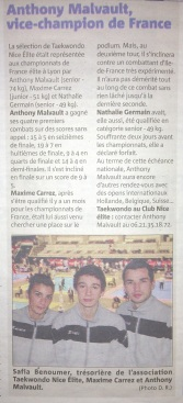 Nice-Matin : Anthony Malvault, Vice-Champion de France 2013.