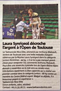 Laura décroche l'argent à Toulouse!