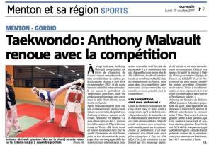 Retour en compétition pour Anthony Malvault